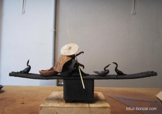 cormoran pêcheur figurine